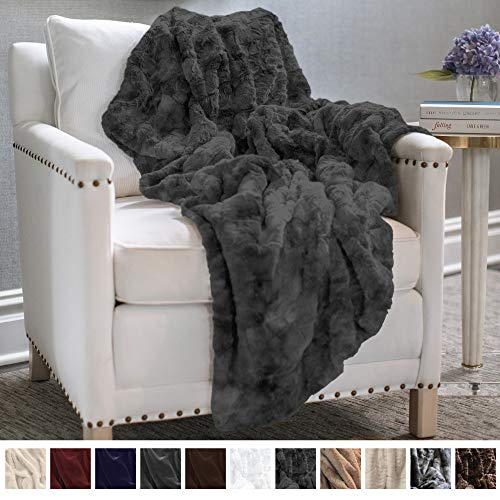 (The Connecticut Home Company Original Luxury Faux Fur Throw Blanket, Super Soft, Large Plush Reversible Blankets, Warm & Hypoallergenic Washable Couch/Bed Throws, Microfiber 65