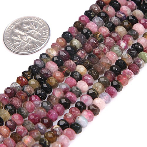 Multicolored Tourmaline Beads for Jewelry Making Natural Gemstone Semi Precious Rondelle Spacer Faceted 3x4mm 15