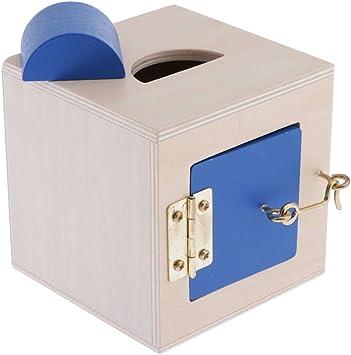 perfeclan Montessori - Caja De Cerradura Colorida para Niños, Juguetes Educativos De Entrenamiento Preescolar, Juguetes De Madera para Bebés - Reconocimiento De - Azul: Amazon.es: Juguetes y juegos