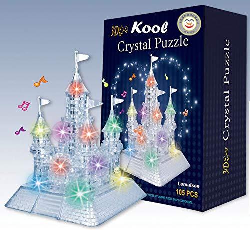 Kool 3D Light-Up Musical Crystal Castle Jigsaw Puzzle 105 pieces Beautiful LED Lights KoolTech