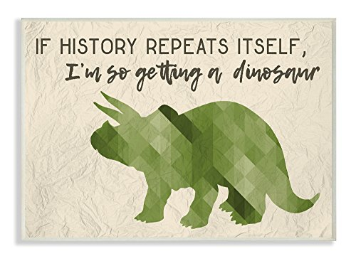 The Stupell Home Décor Collection I'm So Getting a Dinosaur Green Triceratops Wall Plaque Art, 10 x 15 by The Stupell Home Decor Collection