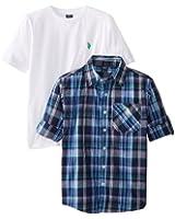 U.S. Polo Assn. Big Boys' Crew-Neck T-Shirt and Long-Sleeve Plaid Shirt Set