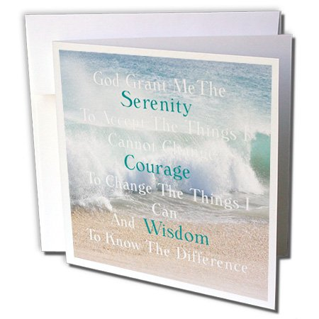 3dRose Image of Serenity Prayer On Calm Beach and Waves Photo - Greeting Card, 6