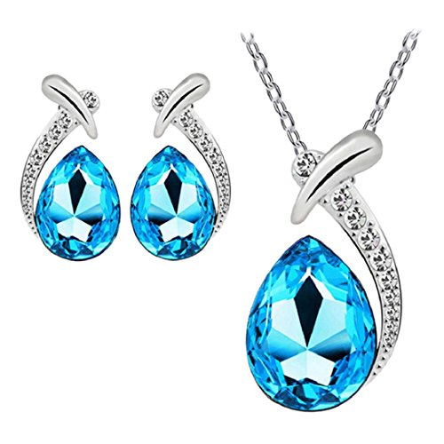 (Nobio Women's Shiny Crystal Rhinestone Silver Plated Pendent Chain Necklace Stud Earring Costume Fashion Jewelry Set (Lake Blue))