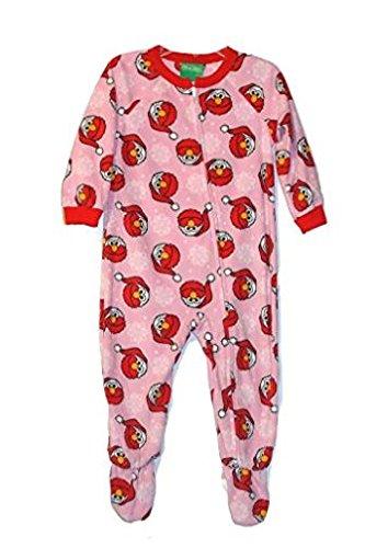 Sesame Street Toddler Girl's Santa Elmo Pink Fleece Footed Christmas Pajama Sleeper (4T)