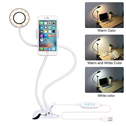 hot sale 2017 Selfie Ring Light with Cell Phone Holder, ZIKO 3 Light Mode Ring Light with Stand for Live Stream Cellphone Clip Holder Lazy Bracket with Desk Lamp LED Light for Youtube Facebook Fit Smartphone