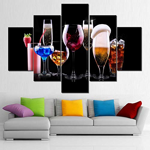 - Wall Paintings for Living Room Red Wine and Juice Pictures Premium Quality Wall Art Multi Panel Canvas Artwork HD Prints Giclee Modern House Decor Framed Stretched Ready to Hang Wallpaper(60''Wx40''H)