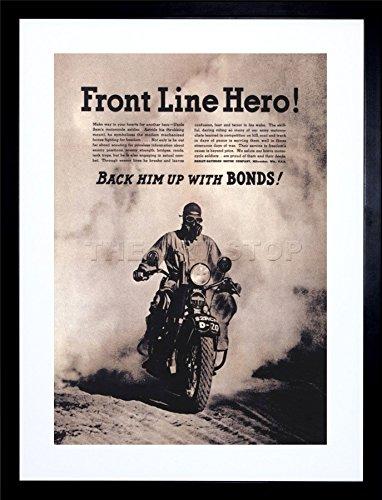 Ad War WWII Hero Harley Davidson 1942 Motorcycle Framed Art Print F