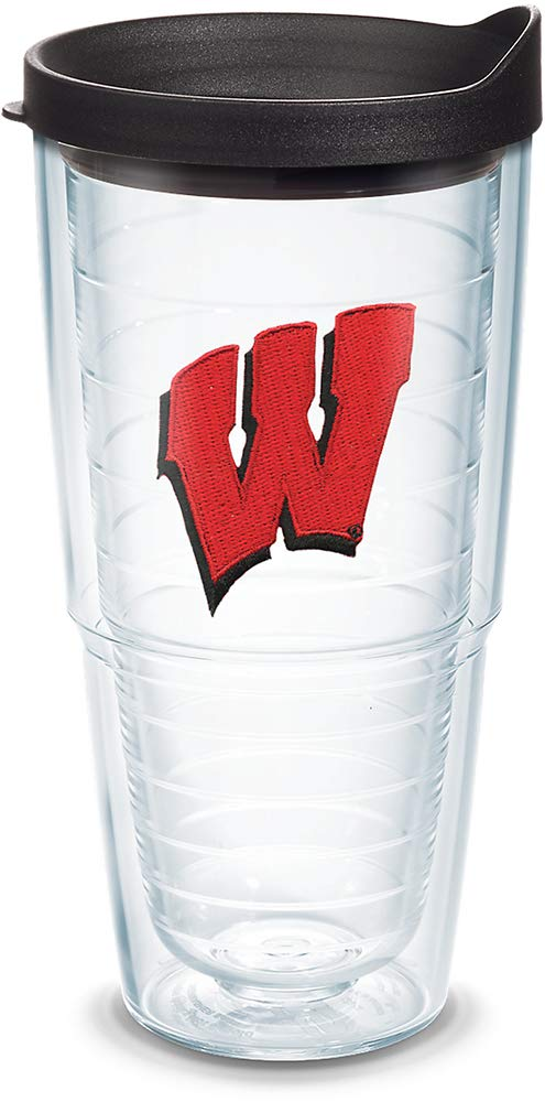 Tervis 1042302 Wisconsin Badgers Primary Logo Tumbler with Emblem and Black Lid 24oz, Clear