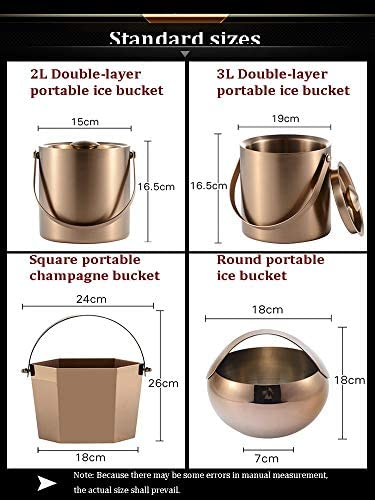 Edelstahl Eiskübel mit isoliertem Deckel for Bar Kalte Soft-Whiskey Getränke Cocktail Parties for Bars Parties BBQ Buffet Ice Pail (Color : 3L-Double Layer)