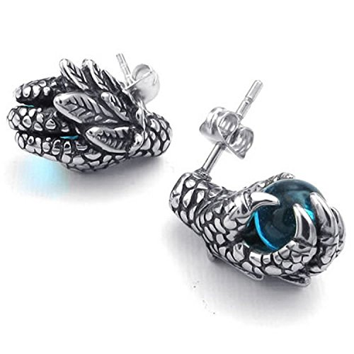 Unistyle Fashion Jewelry Mens Boys Guys Stainless Steel Cubic Zirconia Cool Unique Vintage Gothic Dragon Claw Stud Earrings Set 2Pcs Ear Rings Designs Blue Silver Black