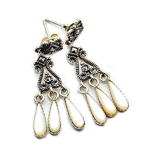 - Chandelier Faux Blister Pearl, Marcasite & Sterling Silver Dangle Earrings