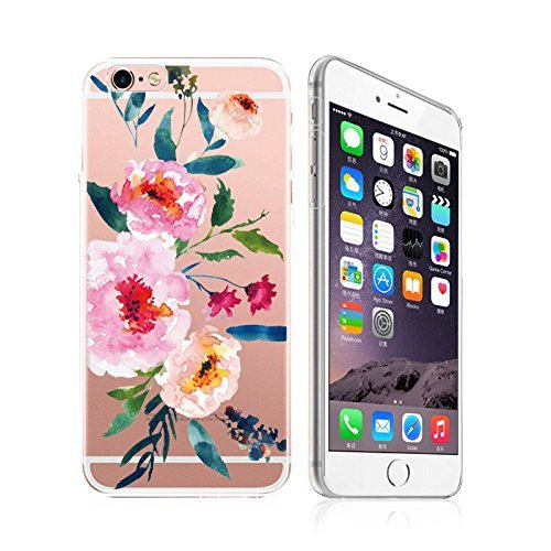 iPhone 6 / 6S, Ultra Slim Silicone Rubber Flexible Gel Case Cover for Apple - Summer Blossom Peonies Flower - Lotus Peony