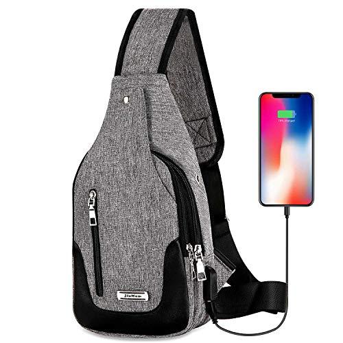 DOUN Lightweight Casual Canvas Unbalance Backpack Crossbody Sling Shoulder Bag Chest Bag with USB Charging Port for Men women (Grey)
