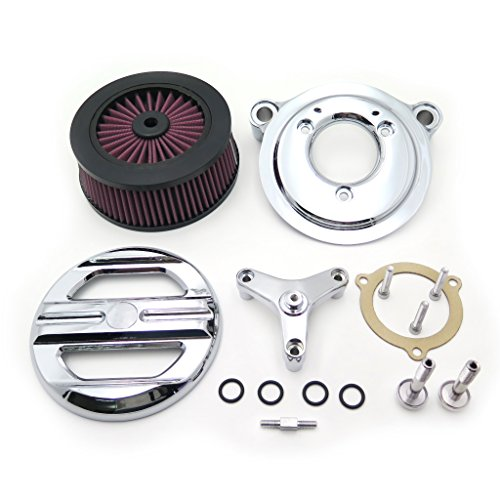 XKMT Group Motorcycle Chrome Skull Grille Air Cleaner Intake Filter System Kit For 16-later FXDLS Softail 08-later Touring and Trike Fat Boy CVO Softail Deluxe Electra Glide Tri ()