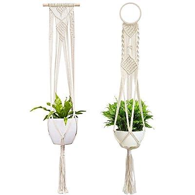 Macrame Plant Hanger Indoor Outdoor Plant Holder Cotton Rope Hangers 2 Pcs Boho Hanging Planter, 41 inch : Garden & Outdoor