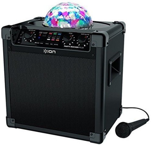 ION Audio Party Rocker Plus | Bluetooth Speaker with Rechargeable Battery, Spinning Party Lights & Karaoke Effects (50W) ()