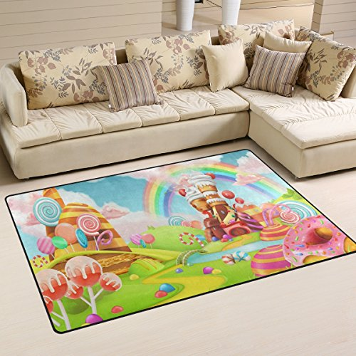 WOZO Sweet Candy Rainbow Area Rug Rugs Non-Slip Floor Mat Doormats Living Room Bedroom 60 x 39 inches Review
