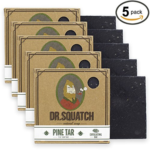 Dr. Squatch Pine Tar Soap 5-pack Bundle - Mens Bar with Natural Woodsy Scent and Skin Exfoliating Scrub - Handmade with Pine, Hemp, Olive Oils in USA (5 Bar Set)