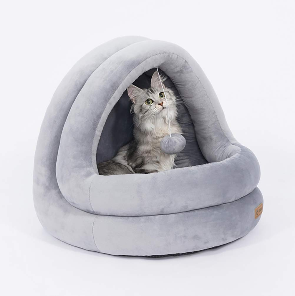 Grey MEIQI Washable Pets Dog Cat Puppy Bed Warm House with a Removable Cushion Cozy Cave
