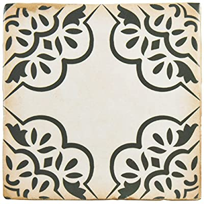 "SomerTile FPEARCON Modele Ceramic Floor and Wall Tile, 4.875"" x 4.875"", Grey/White/Brown/Green"