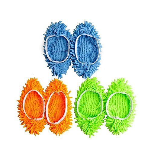 Nextnol 3 Pairs Multifunctional Microfiber Lazy Mop Slipper Mop Dust Cleaner Grazing Slippers Home Floor Cleaning Tools Shoe Cover (Random Color)