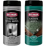 Weiman Stainless Steel Wipes and Granite Wipes (30 Count Each) - Keep Your Appliances Shining Bright and Protect Your Countertops With Our pH Neutral Formula