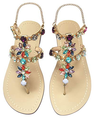 JF shoes Women's Crystal Rhinestone Bohemia Flip Flops Summer Beach T-Strap Flat Sandals Size 9.5 ()