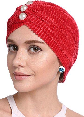 YI HENG MEI Frauen Elegante Cord Perle gefaltete indische Turban Hut Chemo Krebs Cap,Red (Frauen Skins)