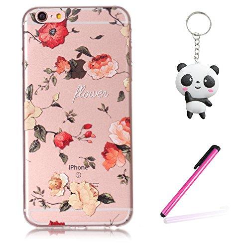 iPhone 6 Plus / 6S Plus Coque Jolie fleur Premium Gel TPU Souple Silicone Transparent Clair Bumper Protection Housse Arrière Étui Pour Apple iPhone 6 Plus / 6S Plus + Deux cadeau