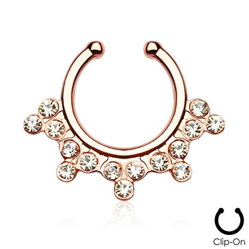 {Rose Gold} Snowflake with Gems Non-Piercing Septum Hanger (Sold Ind.) (Snowflake Piercing Gem compare prices)