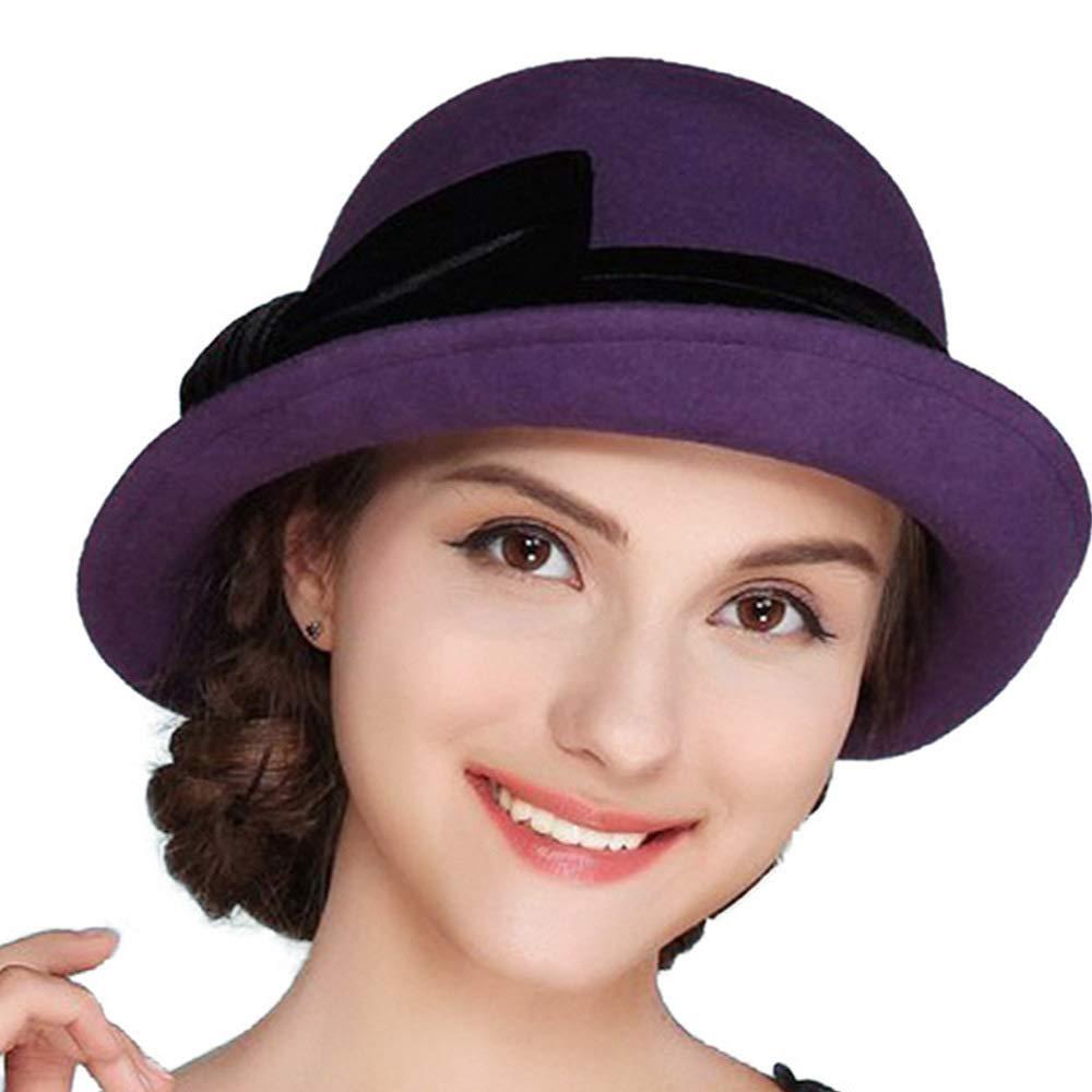 FADVES Women Elegant 100% Wool Felt Hat Bowknot Bowler Cap Retro Wide Brim Church Hats Purple