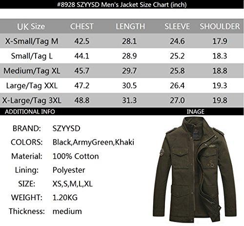 Szyysd Slim Casual Cotone Uomo Leggero khaki Fit In Militare Giacca Da 8928 8qXtXx