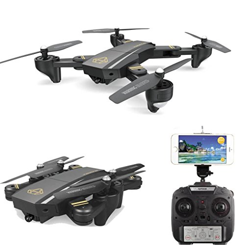 Inverlee DM95HW Wifi FPV 0.3MP Camera Foldable 2.4G 6-Axis Selfie Quadcopter Drone RCToys,Great Xmas Gift (Black) by Inverlee