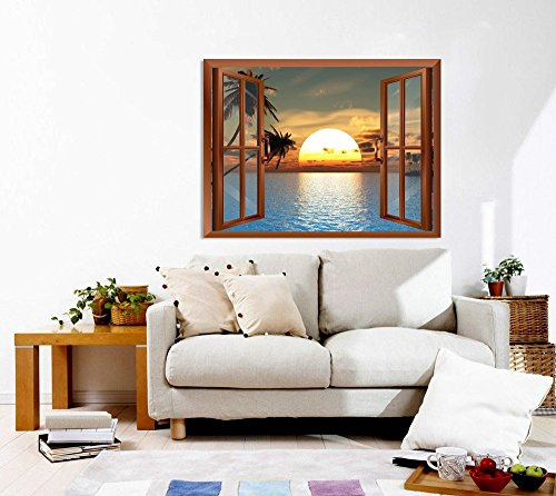 """Wall26 Tropical Beach Landscape with Palm Trees at Sunset View from inside a Window Removable Wall Sticker/Wall Mural - 24\""""x32\"""""""