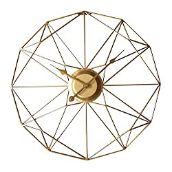 RuiyiF 20 Inch Silent Wall Clock Non Ticking, Metal Vintage Unique Wall Clocks Large Decorative for Kitchen Living Room Office (Gold, 20 Inch)