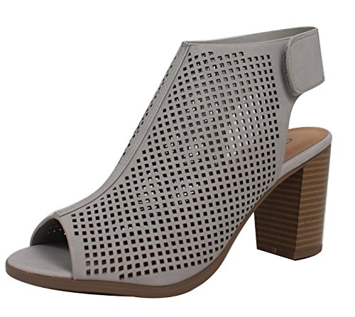 Image of City Classified Women's Roadway Faux Leather Peep Toe Laser Cut Out Slingback Stacked Heels