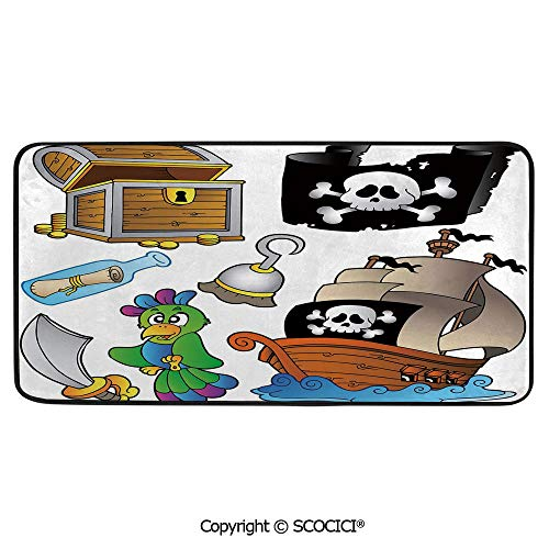 (Soft Long Rug Rectangular Area mat for Bedroom Baby Room Decor Round Playhouse Carpet,Pirate,Pirate Themed Collection Treasure Chest Jolly Roger Flag Ship,39