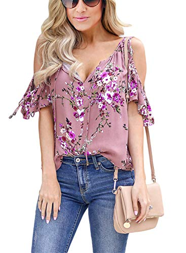 - AlvaQ Summer Shirts for Women Casual Cold Shouder Short Sleeve Tops Fashion Loose Floral Print Tunic Blouses Rose Medium