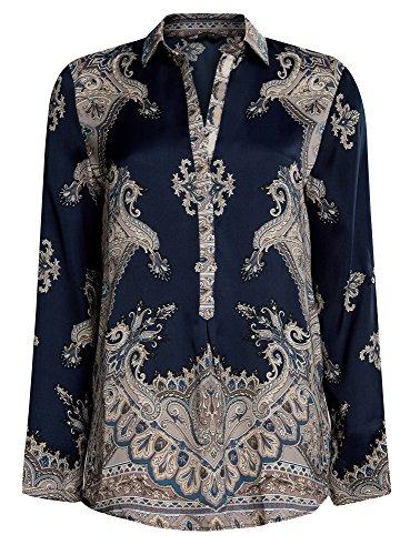 oodji Collection Mujer Blusa de Tejido Fluido con Estampado Azul (7935E)