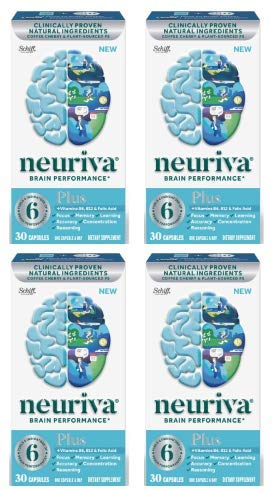 Fast-Acting Brain Supplement - NEURIVA Plus (30Count in a Bottle), Plus B6, B12 & Folic Acid, Supports 6 Indicators of Brain Performance: Focus, Memory, Learning, Accuracy, Concentration (Pack of 4)