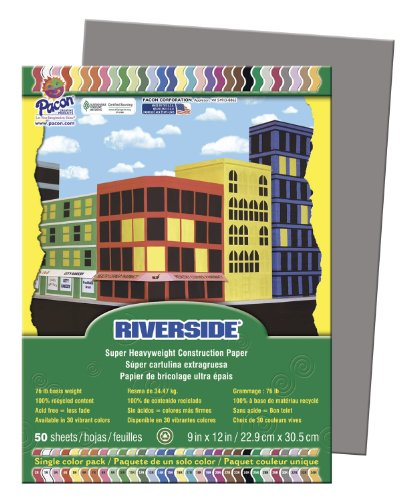 Pacon Construction Paper, 9-Inches by 12-Inches, 50-Count, Slate Gray (103609)