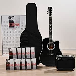 esteban black silver acoustic electric guitar package w amplifier musical. Black Bedroom Furniture Sets. Home Design Ideas