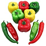 Barbariol 10 PCS Artificial Lifelike Simulation Pepper Fake Vegetable Hot Chili for Home Kitchen Decoration (A)