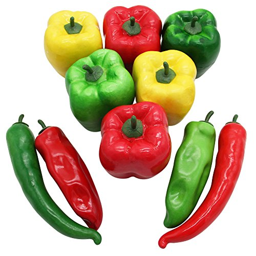 Barbariol 10 PCS Artificial Lifelike Simulation Pepper Fake Vegetable Hot Chili for Home Kitchen Decoration (A) ()