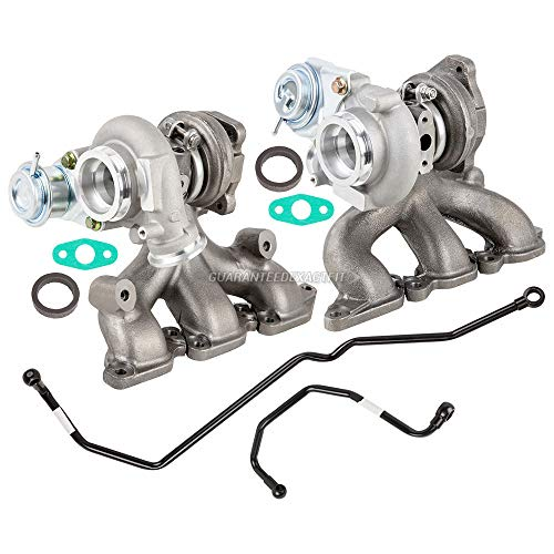 Pair Twin Turbo Turbocharger Kit w/Gaskets & Oil Feed Lines For Volvo XC90 S80 T6 2002 2003 2004 2005 - BuyAutoParts 40-80135IL New ()
