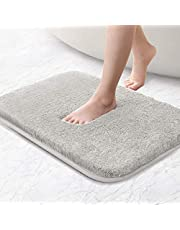Bath mat non-slip bath mat thickened bath mat soft bath mat Fluffy microfiber bath rugs, super absorbent, machine washable, quick drying - 40 x 60cm (Light gray)