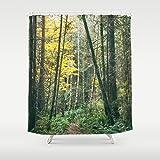 Autumn Woodland Custom Shower Curtain | Green Bath Decor | Tree Decor | Extra Long Shower Curtain | Forest Home Decor | Green Home