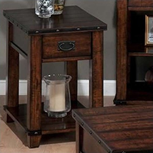 Jofran Chairside Table in Cassidy Brown Finish (Chairside Table Brown Finish)