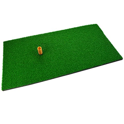 SUMERSHA Golf Mat 12x24 Residential Practice Hitting Mat Rubber Tee Holder Realistic Grass Putting Mats Portable Outdoor Sports Golf Training Turf Mat Replacement Indoor Office Equipment